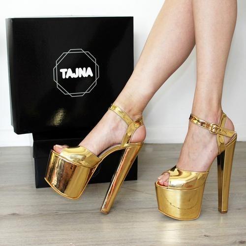 c2d05ee36d93 19-20 cm Gold Ankle Strap High Heel Platform Shoes