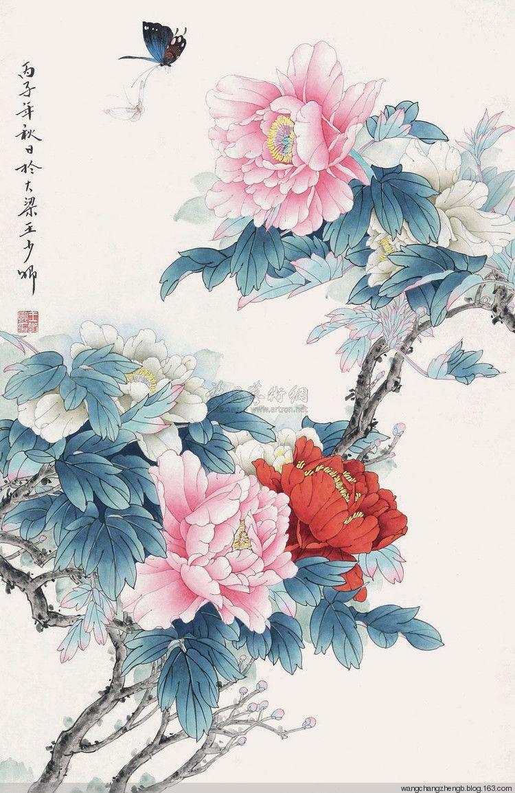 chinese paintings pinterest pivoines dessin japonais et japonais. Black Bedroom Furniture Sets. Home Design Ideas