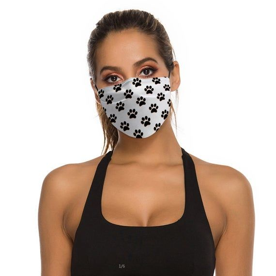 Photo of Paw Pattern White Face Mask With Filter Reusable Adjustable Face Mask Adults + Kids, Breathable + Wa