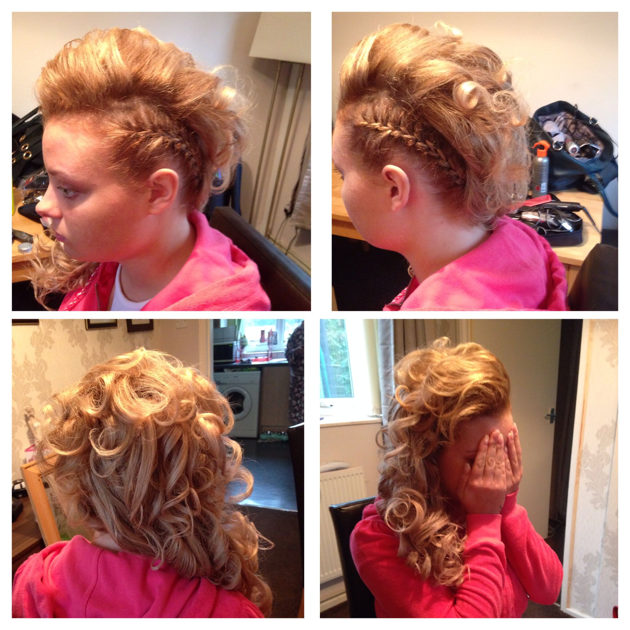 Hair Up Plait Going Around The Hairline On One Side And Curled To