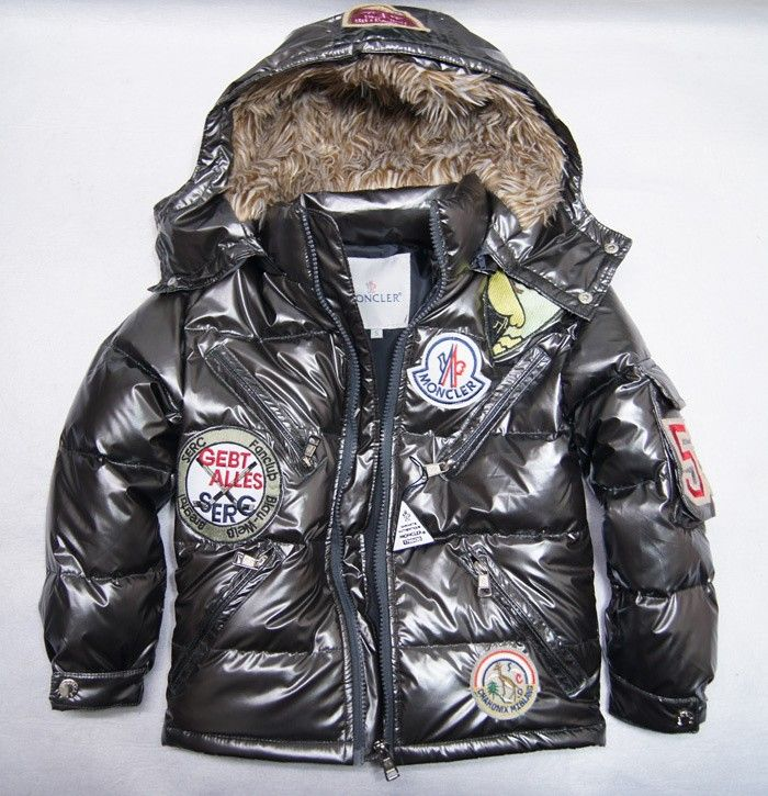 ae2f8a541 Moncler Kids Down Multiple Logo Jacket Iron Grey [2900269] - £121.39 ...