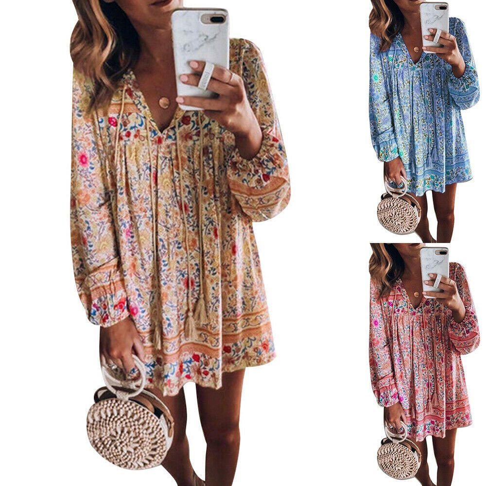 Damen Blumen Midi Kleid Boho Sommerkleid Freizeit Baggy Strandkleid Übergröße