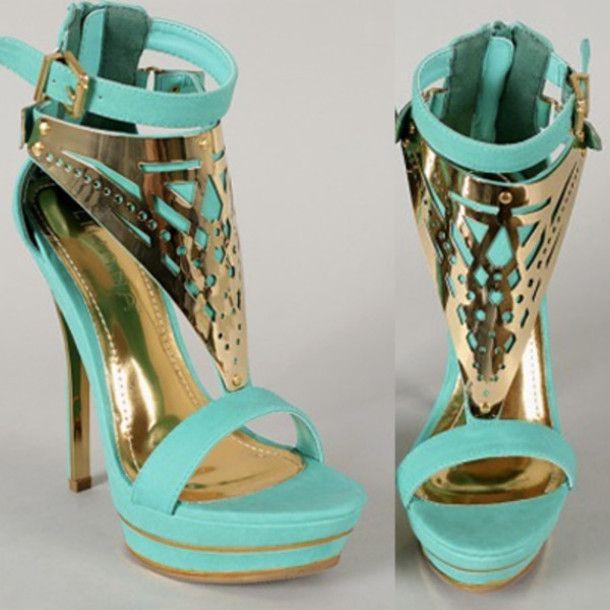 teal high heels