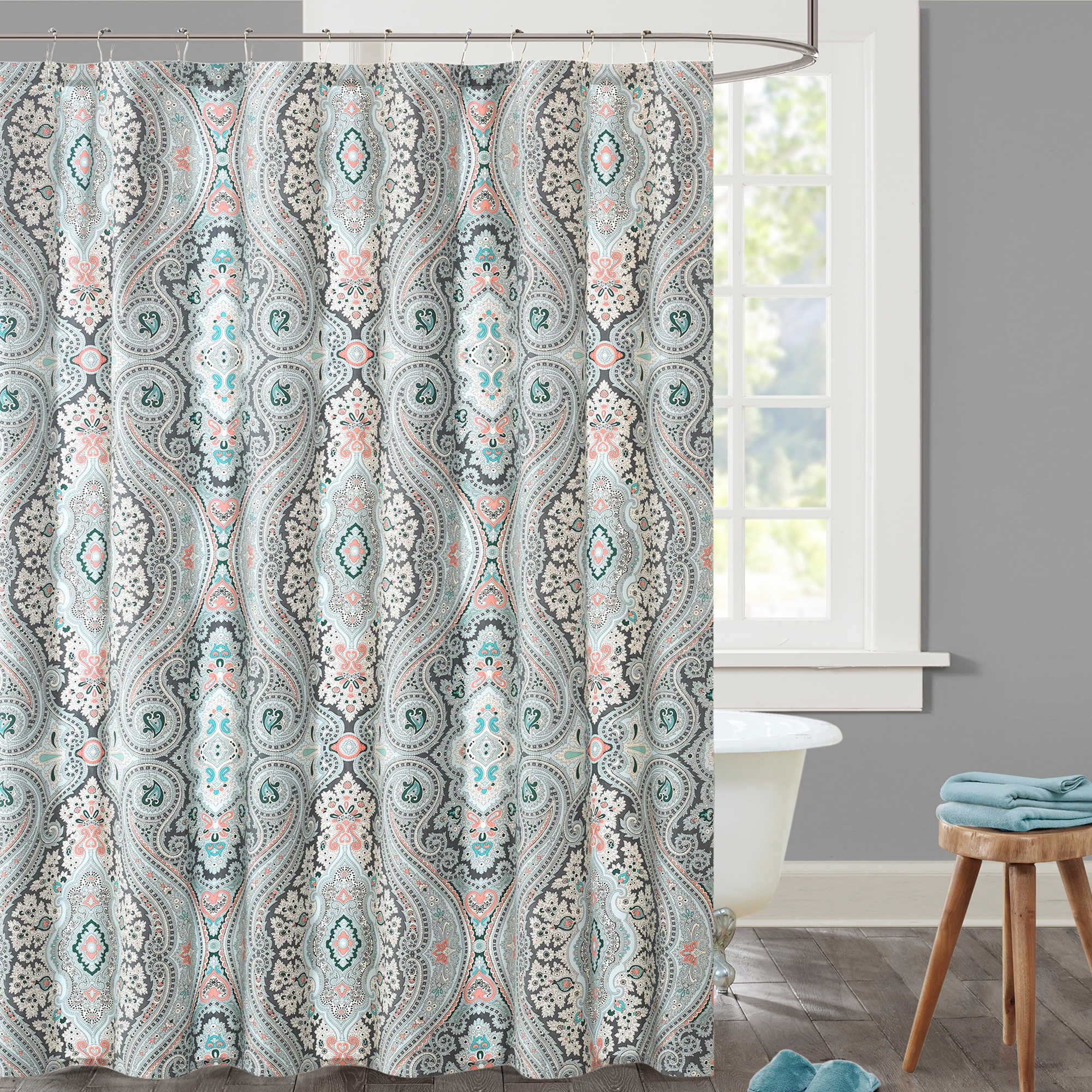 Echo Sterling Shower Curtain In Blue Red Cotton Shower Curtain