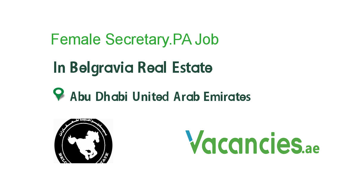 Female Secretary.PA Pa jobs, Job, United arab emirates