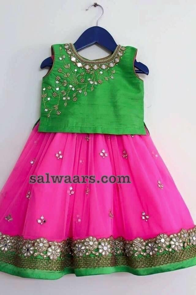 ae5a0686af84f Kids lehenga with Mirror Work - Indian Dresses