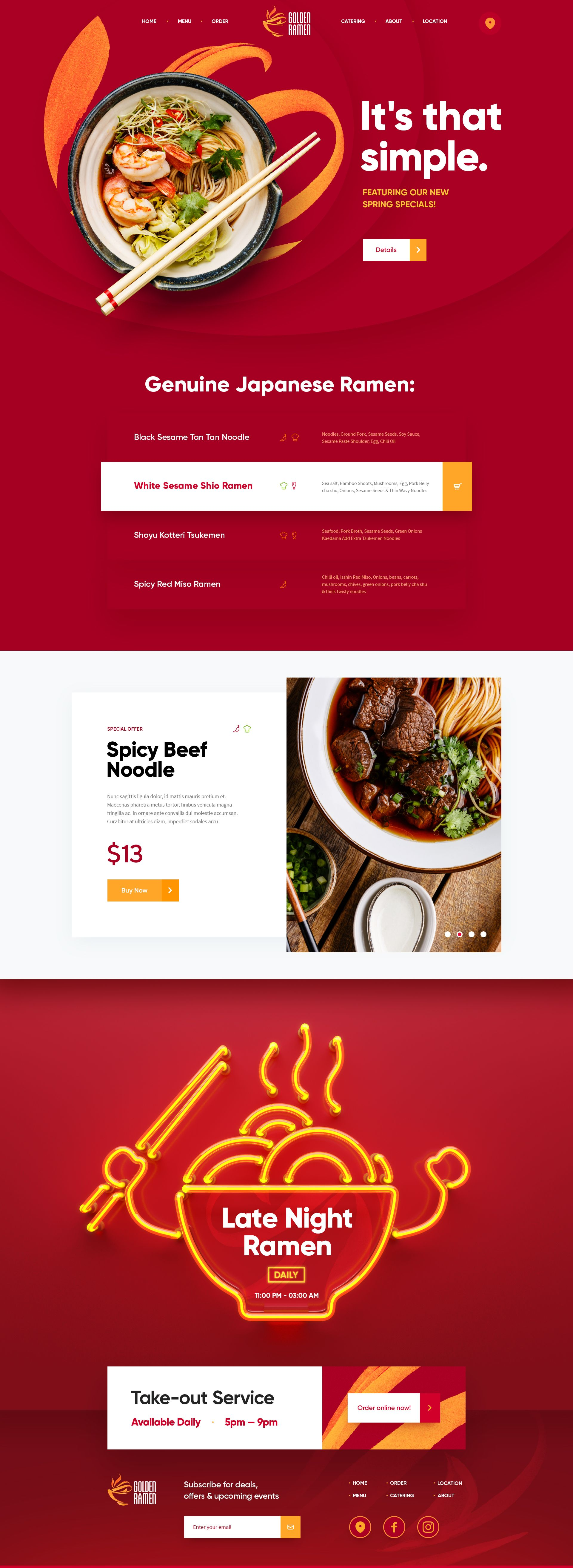 Single Page Website With Excellent User Flow Through The Ordering Process Great Example Of Incorpora Restaurant Website Design Restaurant Web Ramen Restaurant