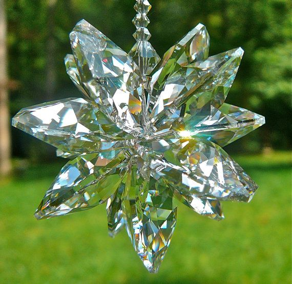 "Swarovski Crystal Cluster Window Hanger - Made with 20mm Leaded Swarovski Octagons - Lightcatcher, Window Prism, ""STELLA GRANDE"""