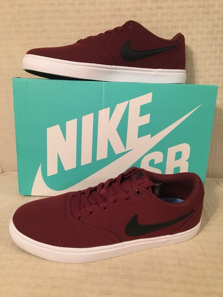 best service 4be7b ebb49 Nike Sb Check Solar Mens Dark Team Red Canvas Sneakers Size Men s 9.5  Women s 11  Nike  SkateShoes