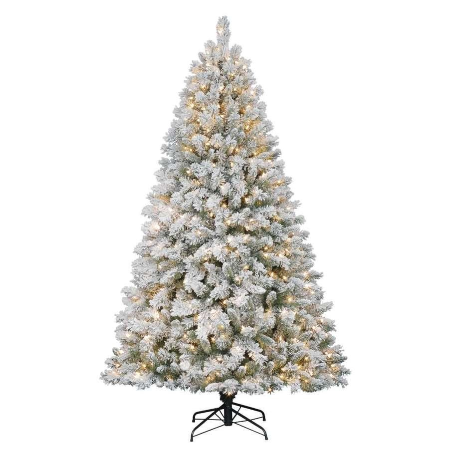 flocked pre lit artificial christmas tree with clear lights trees. Black Bedroom Furniture Sets. Home Design Ideas