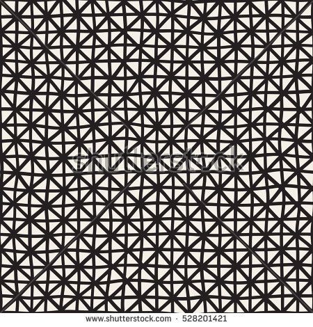 Hand Drawn Line Lattice. Abstract Freehand Background Design. Vector Seamless Black and White Pattern.