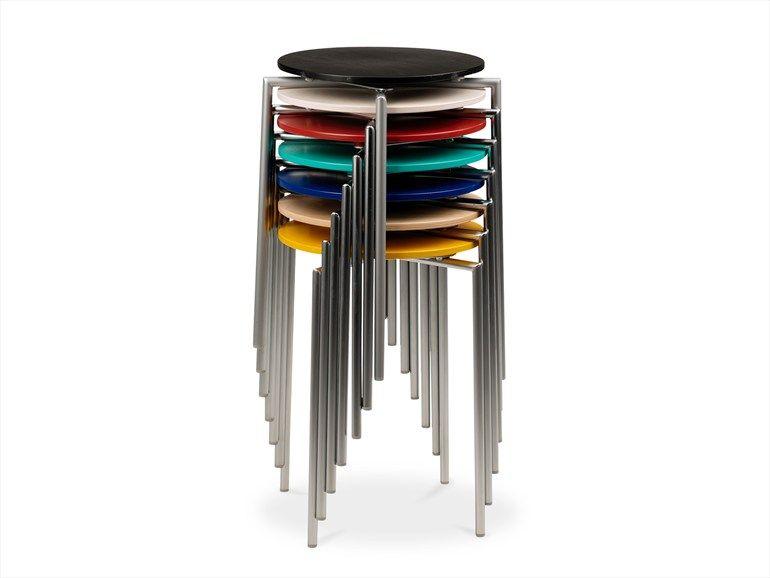 Sgabello alto basso impilabile in acciaio collezione cobra by