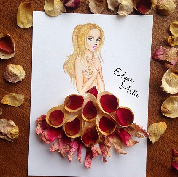 Stunning illustrations of dress designs by edgar artis for Art from waste paper