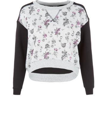 Teens Grey and Black Floral Raglan Sweater