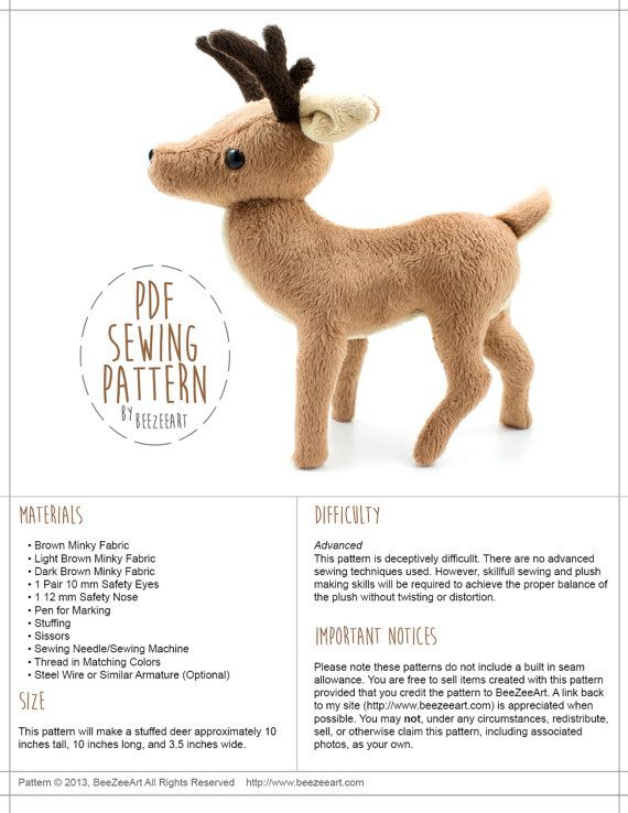 Deer Stuffed Animal sewing pattern by BeeZeeArt | Sewing Toys ...