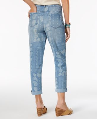 Style & Co Bandana-Print Boyfriend Jeans, Only at Macy's - Blue 10