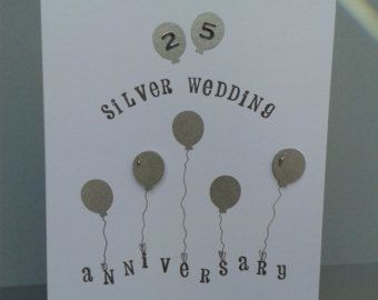 Handmade silver wedding anniversary card personalised th