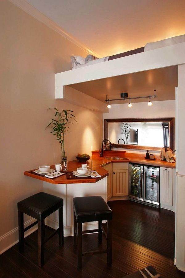 Beautiful Small Kitchen With Upstairs Sleeping Loft Tiny House Kitchen House Design Kitchen Tiny House Living