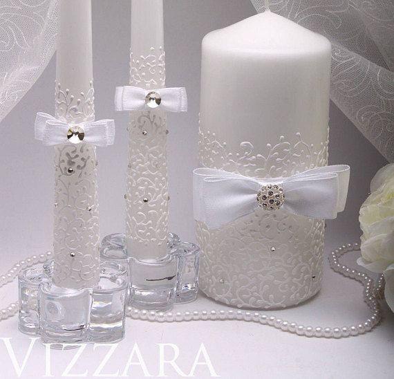 Wedding Unity Candle Set White Personalized Ceremony Candles