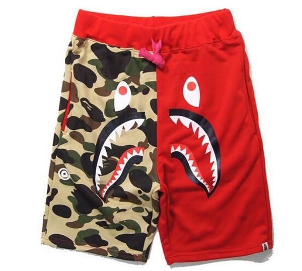 A Bathing Ape BAPE Camo Shorts Shark Prints Sports Casual Loose Pants UNISEX