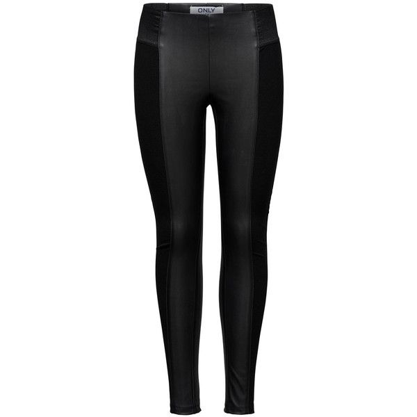 ONLY Pu Mixed Leggings (68 ILS) ❤ liked on Polyvore featuring pants, leggings, bottoms, jeans, pantalones, black, tall leggings, tall pants, pu leggings and legging pants