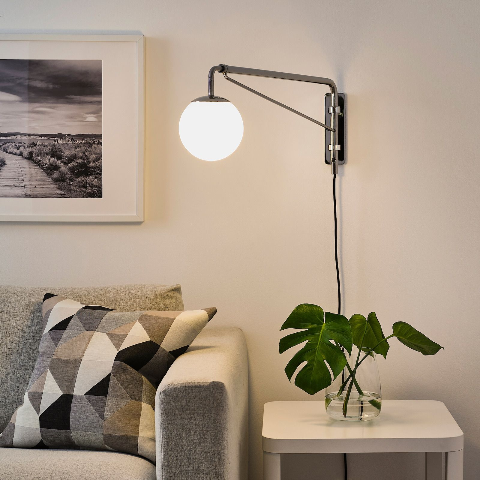 Simrishamn Wall Lamp With Swing Arm Chrome Plated Opal White Glass Ikea In 2021 Wall Lamp Wall Lamps Living Room Plug In Hanging Light Side lights for living room