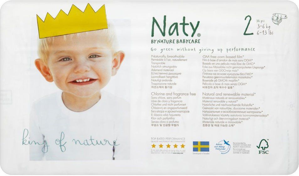 Naty By Nature Babycare Nappies Size 2 Extra Small 3 6kg 34