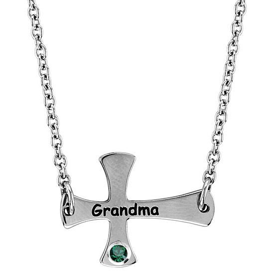 May Emerald Grandma Cross Pendant in Stainless Steel***Available in all Birthstone Colors