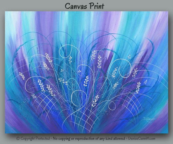 Purple teal turquoise blue abstract large wall art aqua jewel tone canvas art print home decor master bedroom dining room wall decor