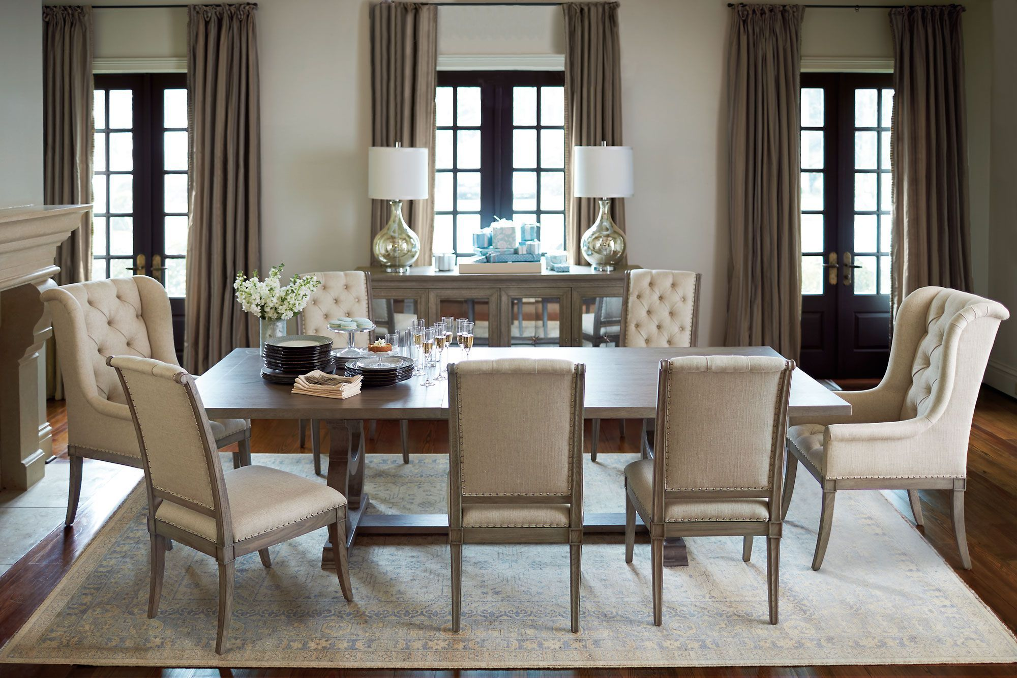 Bernhardt Marquesa 7 Piece Extendable Rectangular Dining Room Set