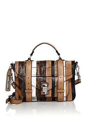 Proenza Schouler PS1 Tiny Striped Leather, Suede & Snakeskin Satch