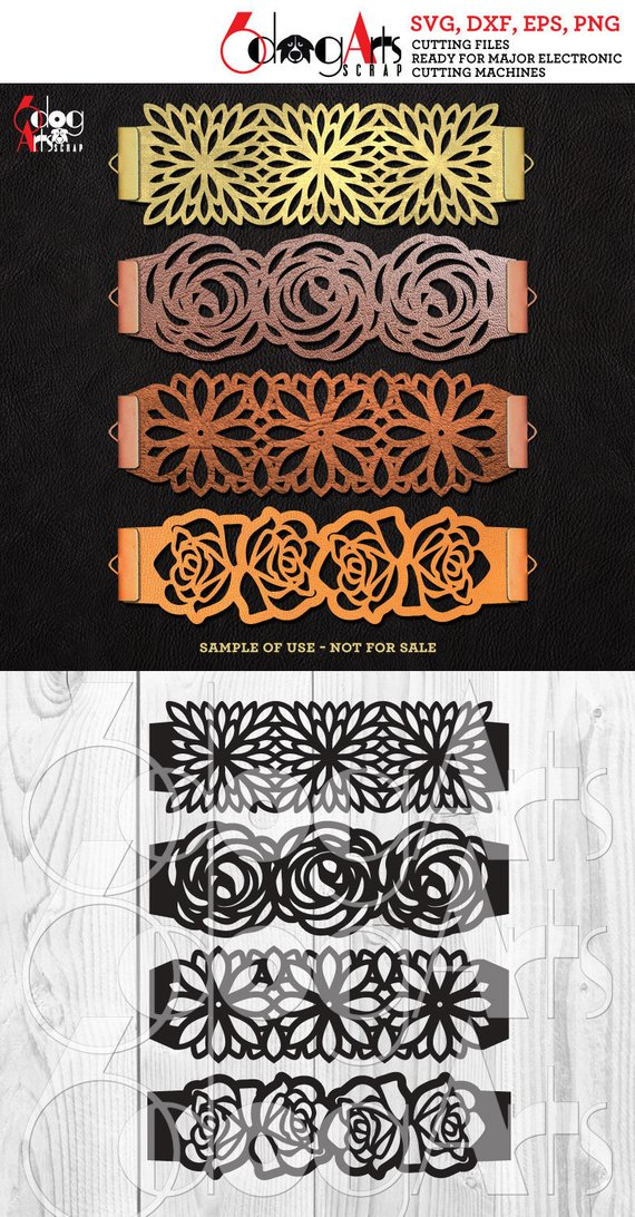 Photo of 4 Brazalete Floral Joyería de cuero Plantillas de corte Vector Digital SVG DXF Archivos Descargar Corte Láser Cricut Maker JB-1480