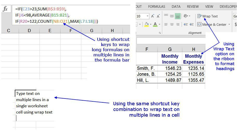 This Trick Wraps Text And Formulas On Multiple Lines In Excel Formula Text Excel Formula