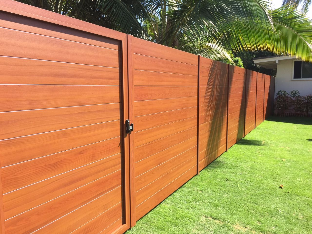 Knotwood aluminum gates are durable with a tough texture