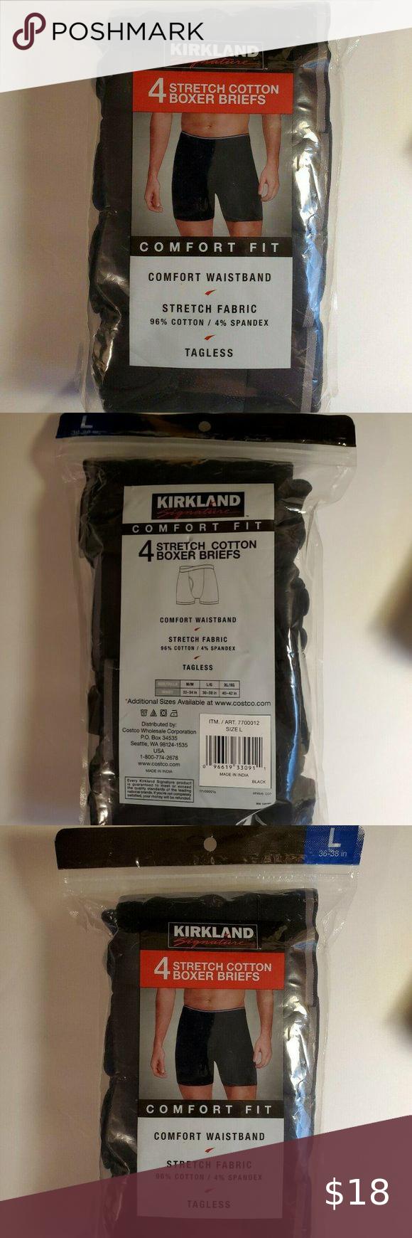 Mens Kirkland 4 Pack Stretch Cotton Boxer Briefs Comfort Underwear LARGE 36-38