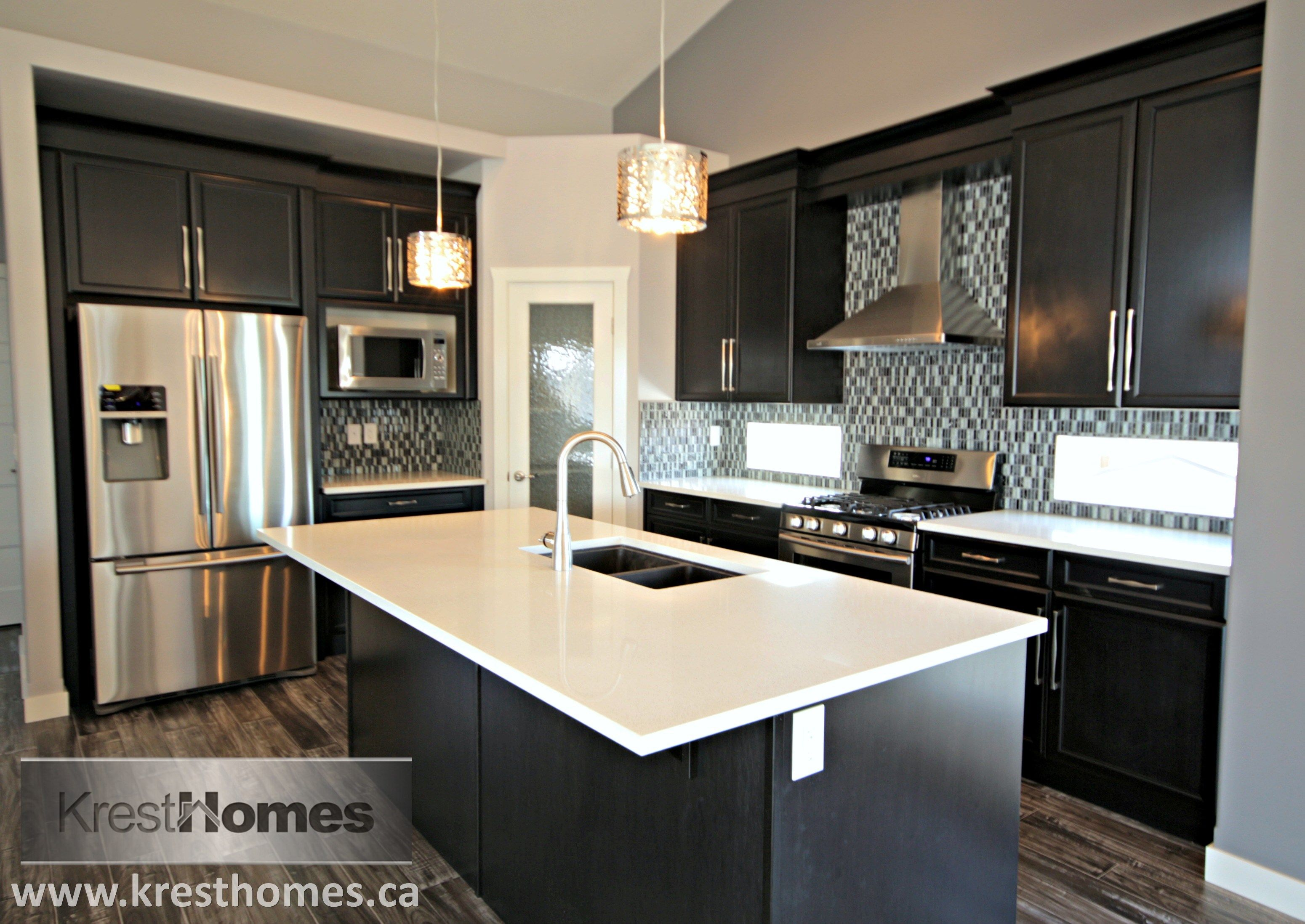 Stunning! Salt Spring Quartz countertops, Charcoal Maple ... on Maple Kitchen Cabinets With Quartz Countertops  id=85342