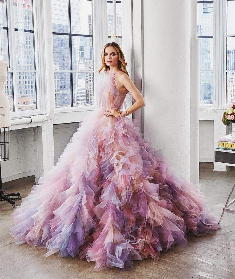 This Marchesa ballgown with a textured tulle skirt in the dreamiest unicorn  colours! 86e7dfdccf4c
