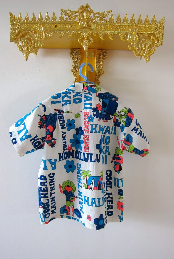 a0734ed0b 60s Lehua Boys & Girls Hawaiian Shirt Authentic Vintage Loop Collar ...