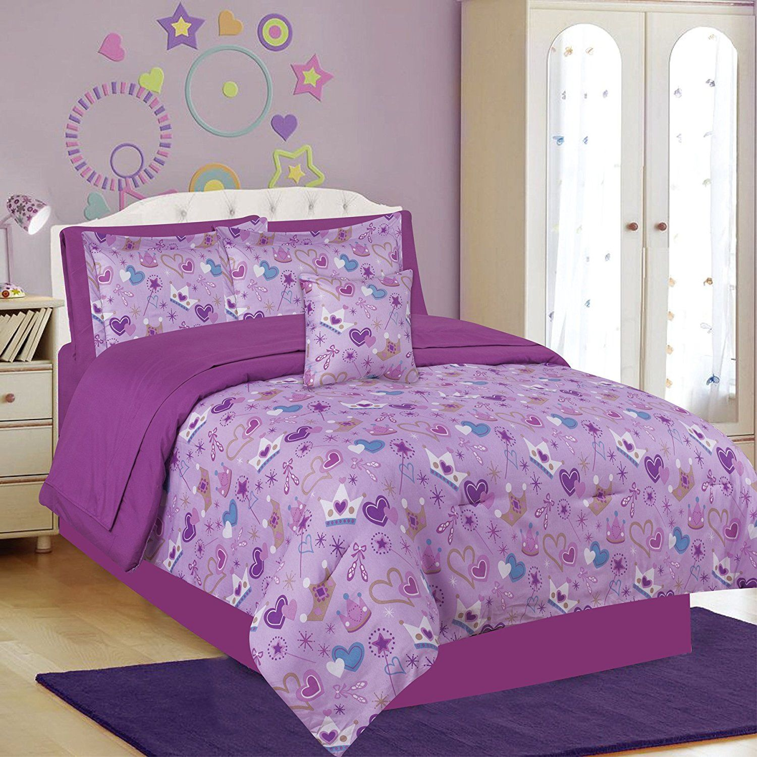 Girls Bedding Twin 6 Piece Comforter and Sheet