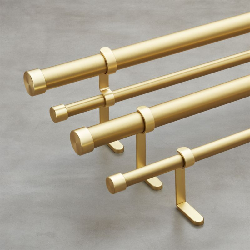 Brushed Brass Double Rod Curtain Rod Set ...
