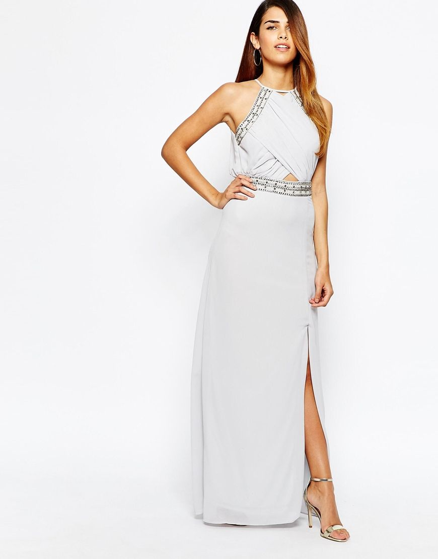 Tfnc embellished trim maxi dress with wrap front asos 123 for Tfnc wedding wrap maxi dress