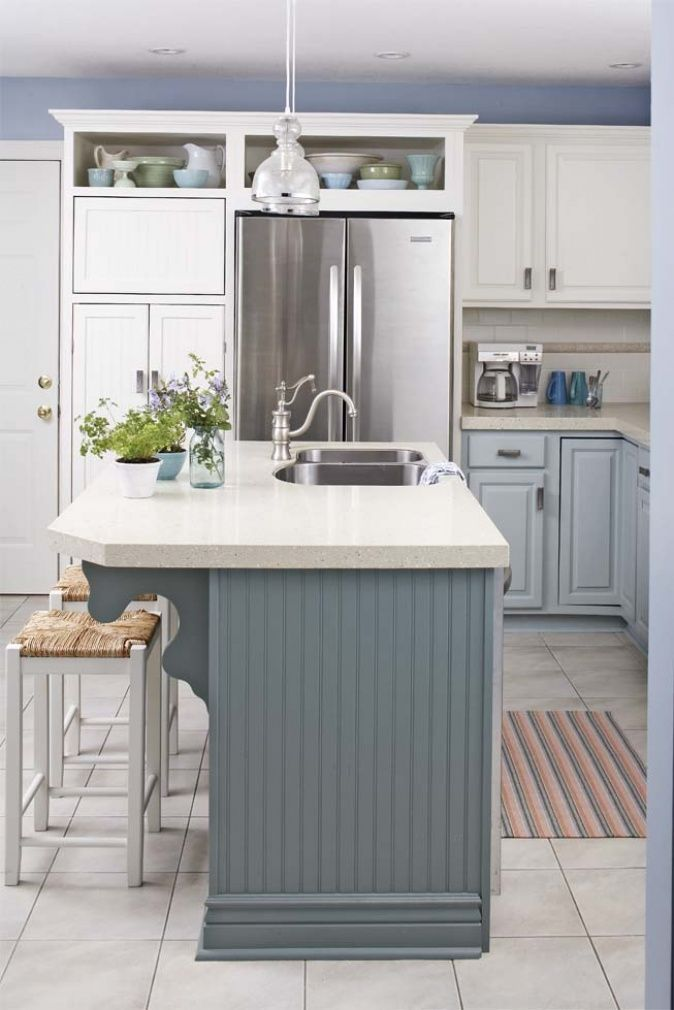 Kuche Mit Blauer Kochinsel Kitchen In 2018 Pinterest Kuche