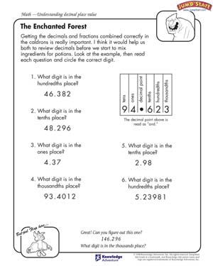 the enchanted forest 4th grade math worksheets. Black Bedroom Furniture Sets. Home Design Ideas