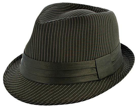 Kenny K - Black on Black Pinstripe Fedora Hat  713172fc1158