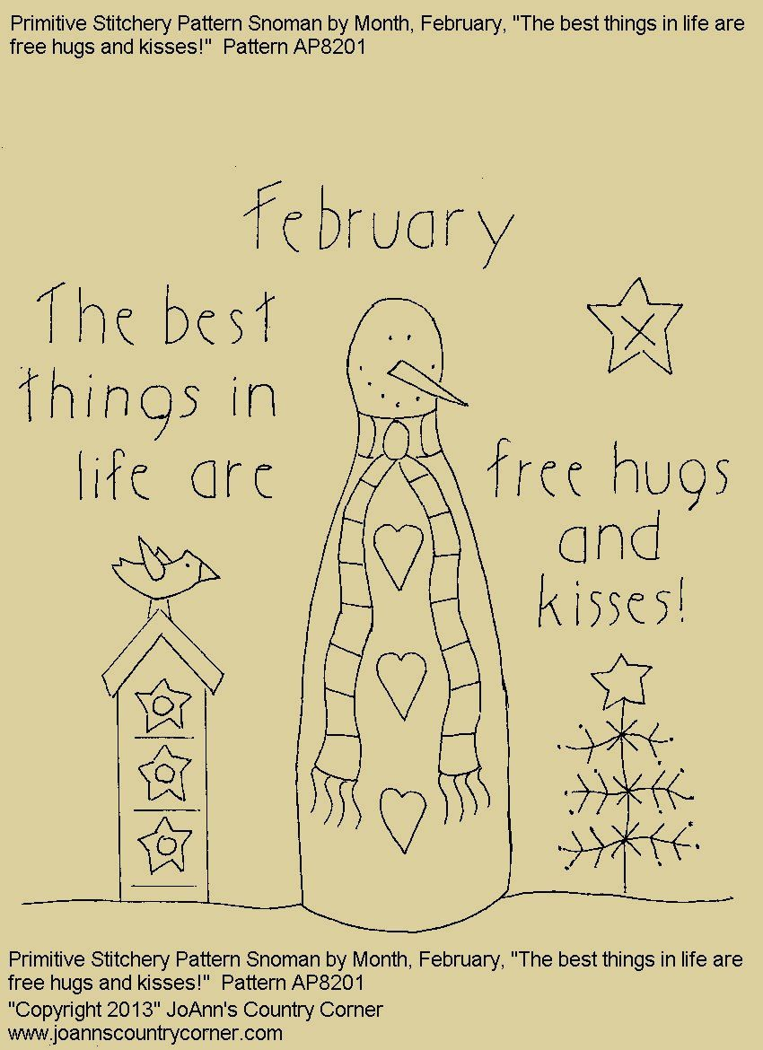 Primitive stitchery e pattern rolling pin snowman by month primitive stitchery e pattern rolling pin snowman by month february the best things in life are free hugs and kisses bankloansurffo Gallery