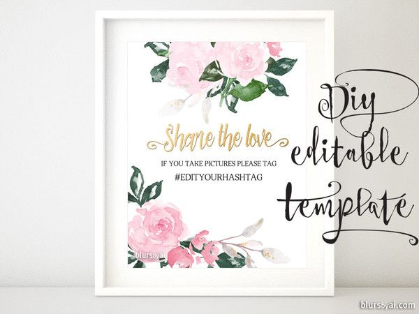 Hashtag sign template featuring pink floral accents Microsoft - microsoft word sign template