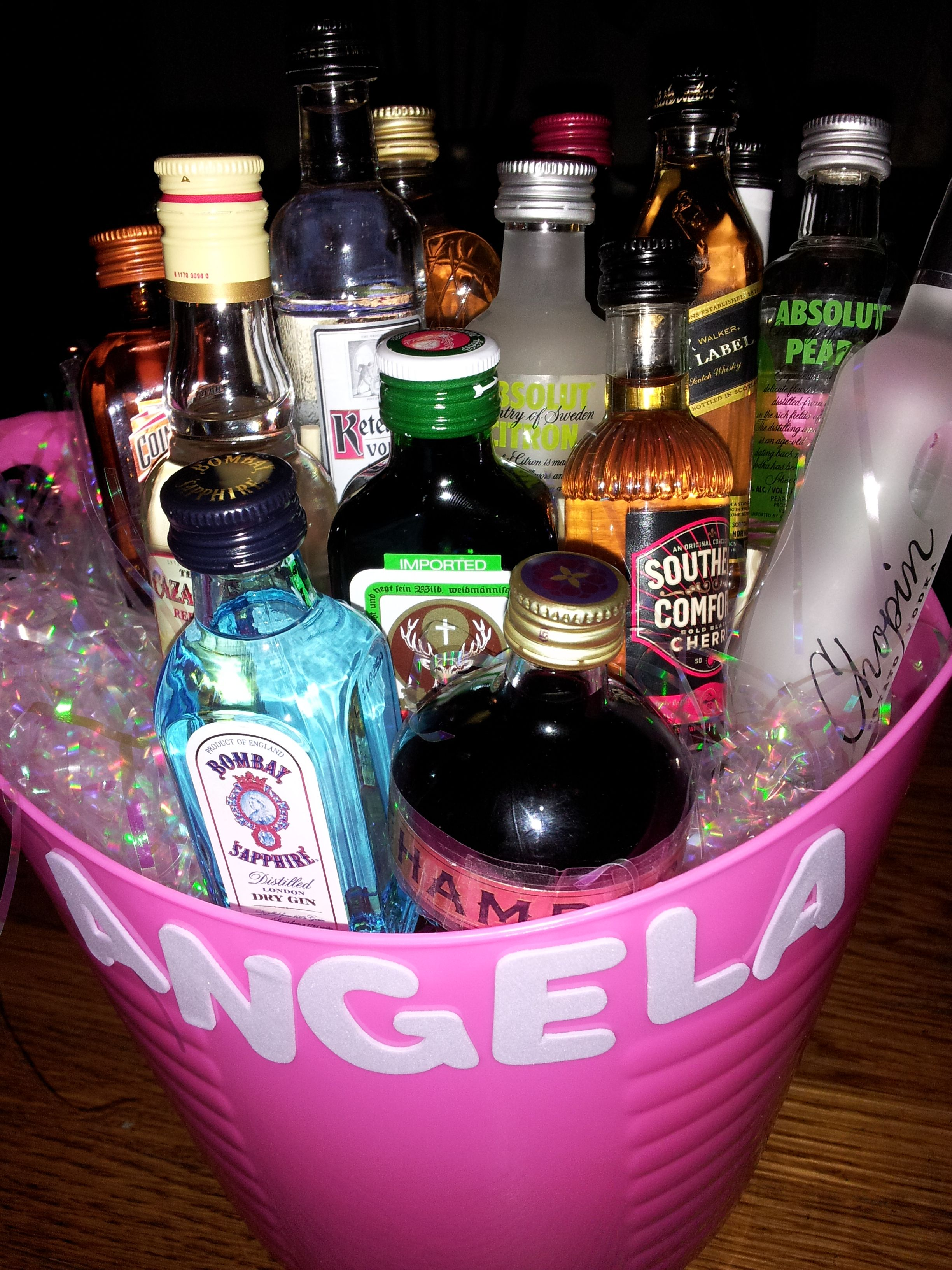 great 21st birthday idea. bouquet of mini-liquor bottles :) | i will