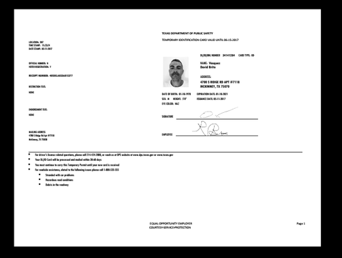Texas Driver S Permit Temporary Drivers Permit Doctors Note