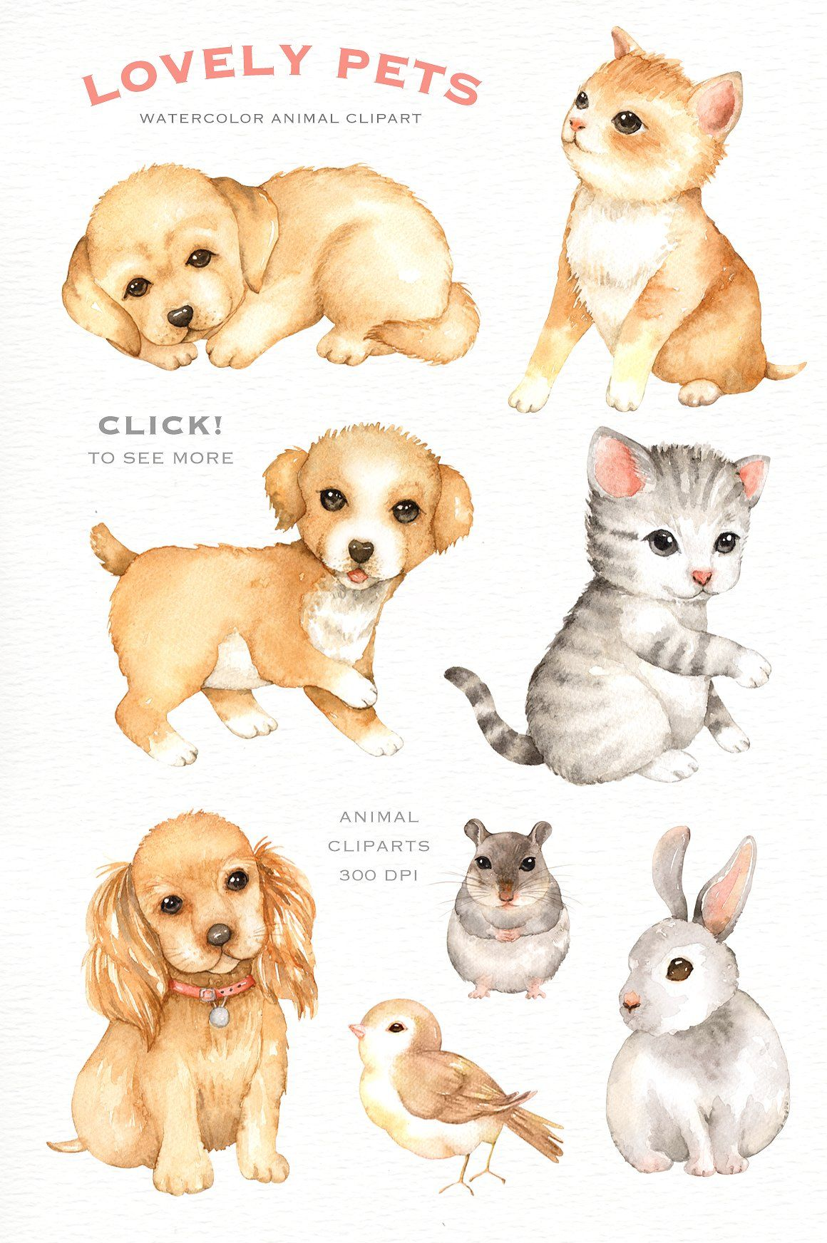 Lovely Pets Watercolor Clipart Watercolor Animals Animal