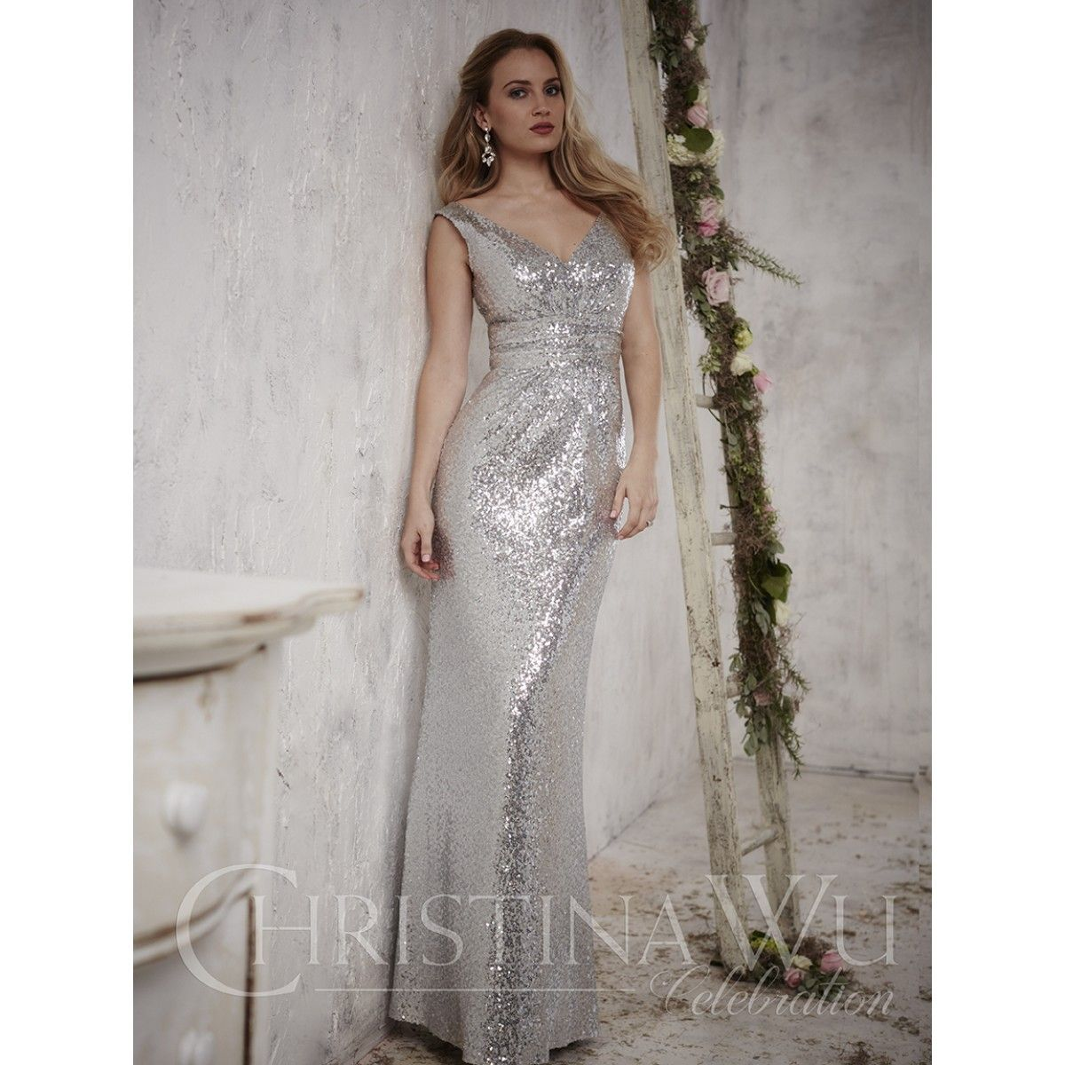 Christina Wu Style 22708 Sequin Brides Maid Dress Available At - Wedding Dresses Roanoke Va